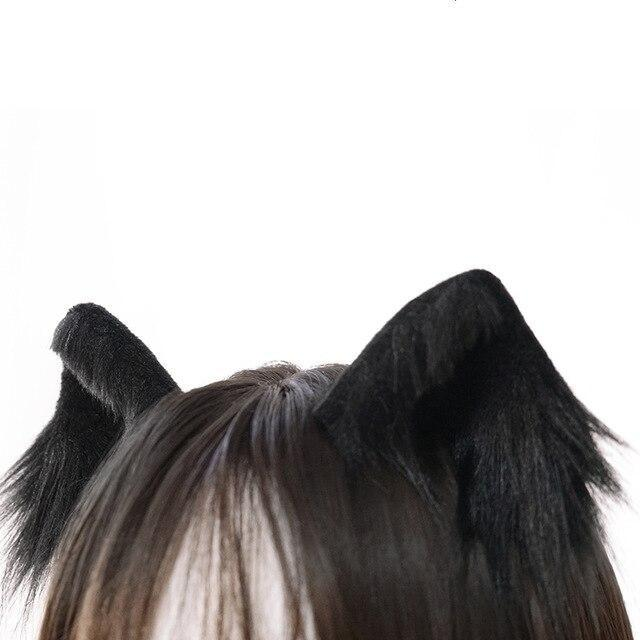 Luxury Realistic Neko Ears - Black - hair clips
