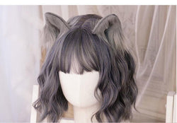 Luxury Realistic Neko Ears - Grey - hair clips
