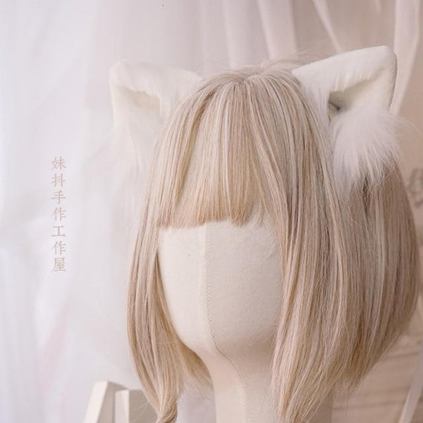 Luxury Realistic Neko Ears - White - hair clips