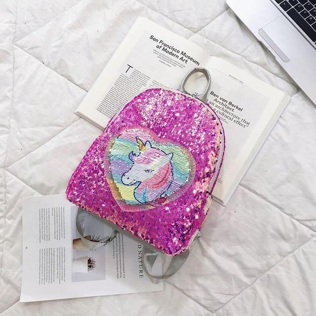 Magic Sequin Unicorn Backpack - Rose red - bag