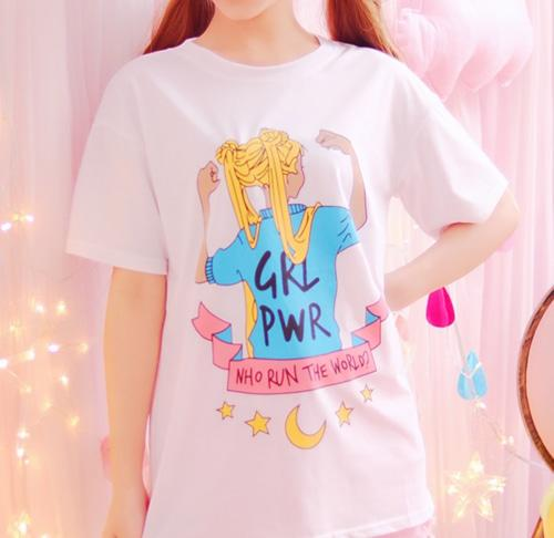 Sailor Moon Girl Power Feminist T-Shirt Tee Top Feminism Who Run The World