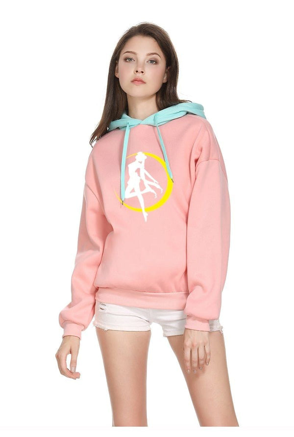 Pink Sailor Moon Hoodie Pullover Sweatshirt Magical Girl Mahou Shoujo Kawaii Fashion