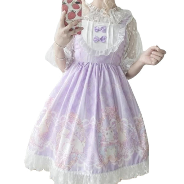 Lavender Purple Sweet Lolita JSK Dress Fairy Kei Kittens Cat Print