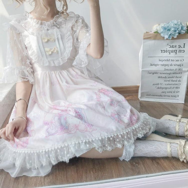 White Beige Sweet Lolita JSK Dress Fairy Kei Kittens Cat Print