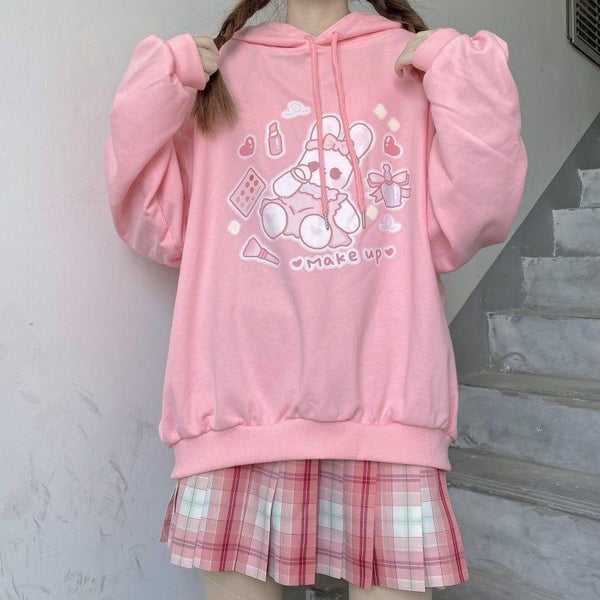 Make Up Bunny Hoodie (3 Colors) - Pink / XL - cosmetic, cosmetic bag, cute, fairy kei, hooded