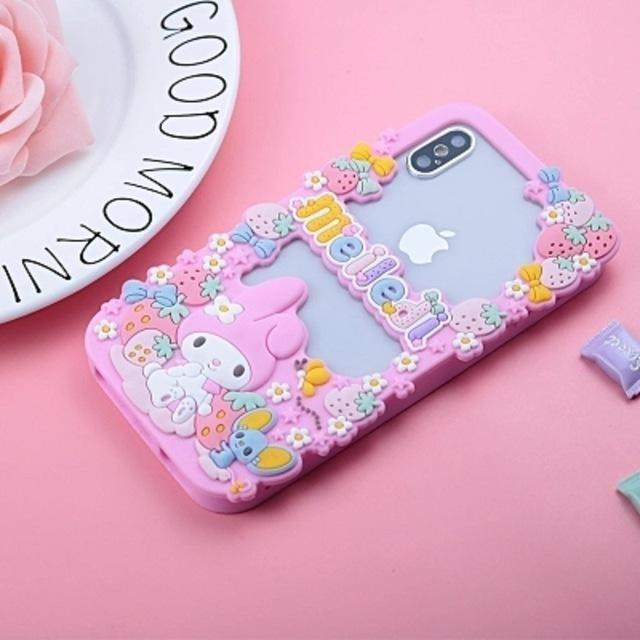 Pink My Melody Apple iPhone Case 3D Soft Rubber TPU Fairy Kei Kawaii Cute Strawberries