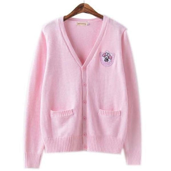 Pink My Melody Bunny Knit Cardigan Sweater Sweatshirt Harajuku Japan Kawaii Fashion
