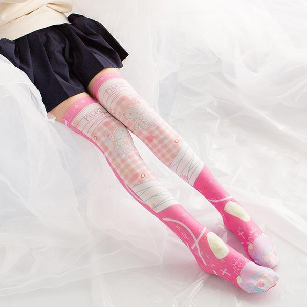 Pink Menhera Fairy Kei Stockings Kawaii Lolita Socks