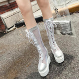 Silver White Mesh See Through Boots Fishnet Platform Shoes Wedge Heel Stripper Style Sexy Harajuku Street Fashion