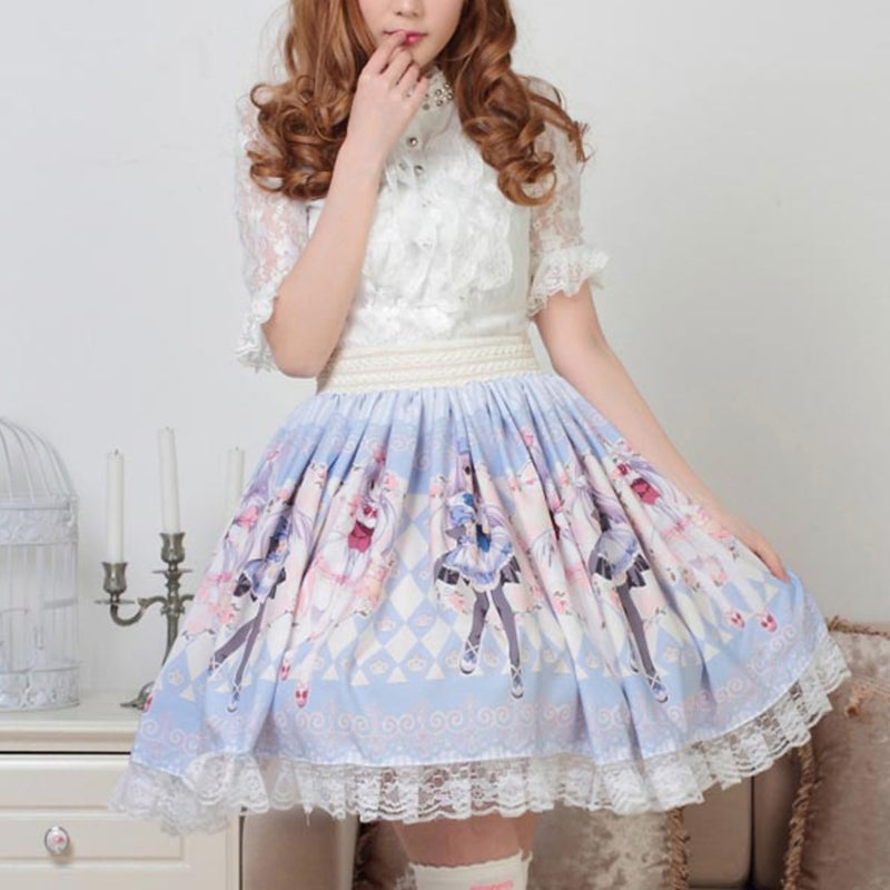 Milky Anime Print Skirt