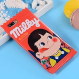 3D Milky Peko Chocolate Bar Candy Wrapper iPhone Case Phone Protector Soft Rubber Red