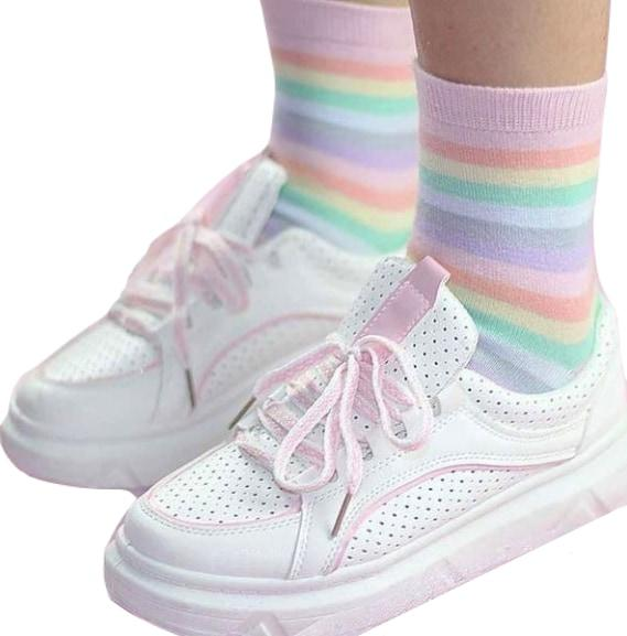 Kawaii Pastel Rainbow Ankle Socks Fairy Kei Fashion Milky Cute