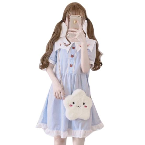 Neko Baby Cat Dress Lolita Fashion Kawaii Harajuku Style Japan Kitten Face Pastel Sailor Collar