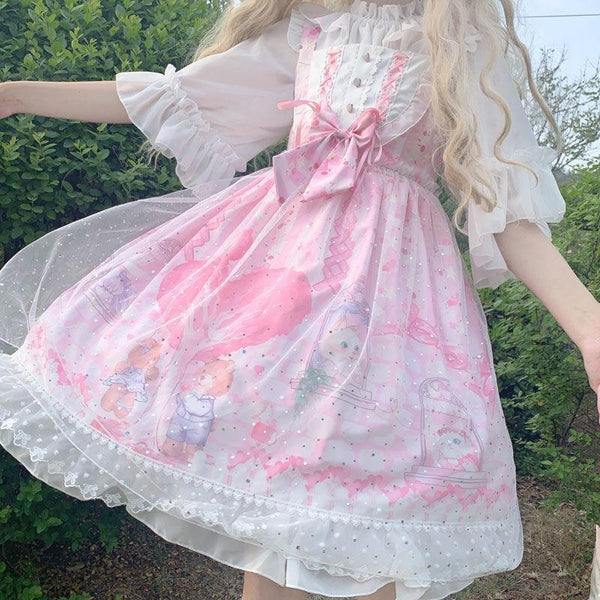 Neko Family Tree Lolita Dress - Pink / L - bear dress, bears, cats, girly, jsk