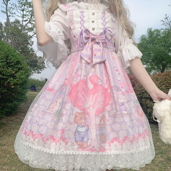 Neko Family Tree Lolita Dress - Purple / M - bear dress, bears, cats, girly, jsk
