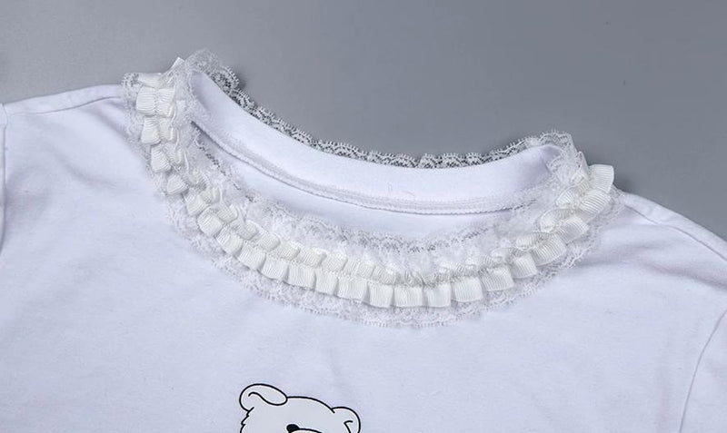 White Not Cute Teddy Bear Crop Top Belly Shirt