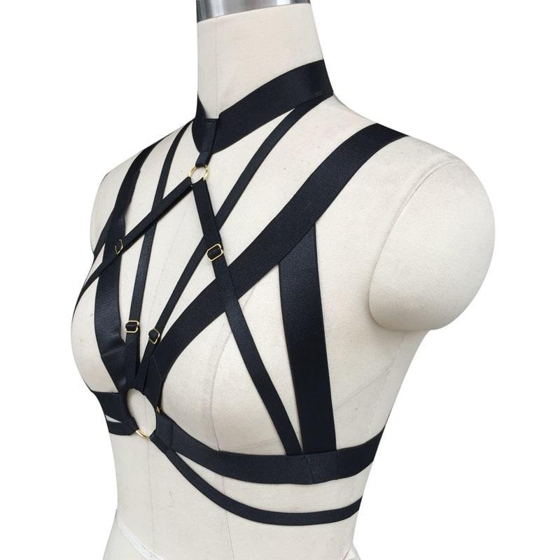 Sexy Spandex Chest Harness Star garter belt vegan leather buckles bondage bdsm romantic fashion accessory