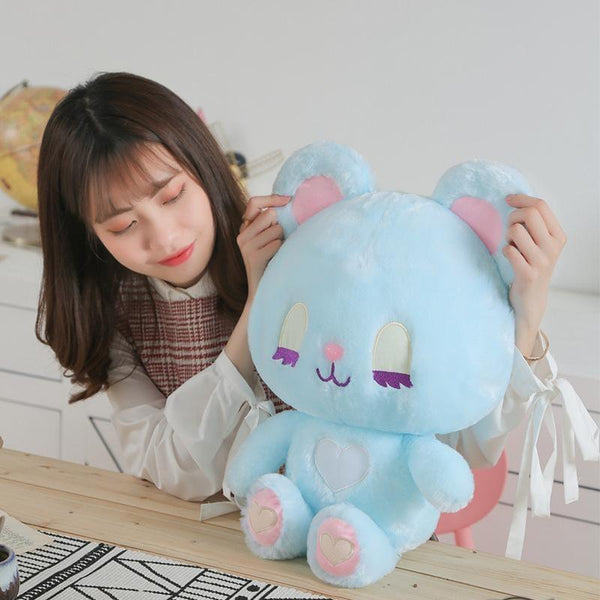 Pastel Bunny & Bear Plushies - Blue Bear Plush - stuffed animal