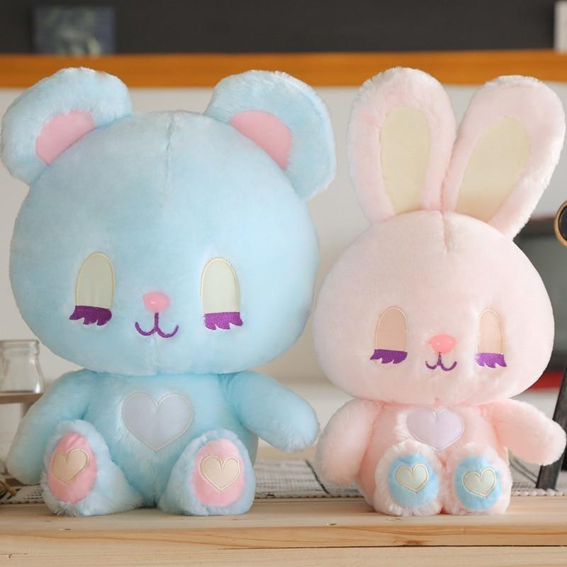 Pastel Bunny & Bear Plushies - Set of Both - stuffed animal