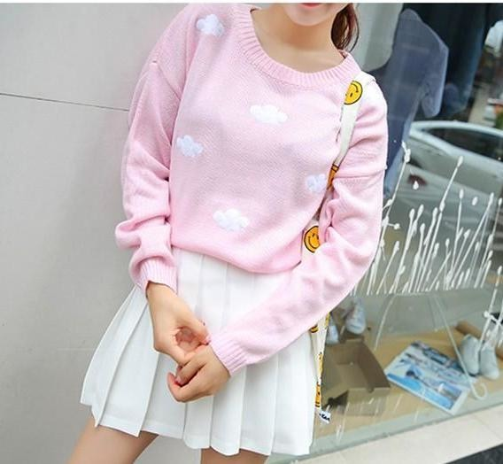 Pastel Puffy Cloud Crewneck Sweater Knitwear Knit Cozy Warm Long Sleeve