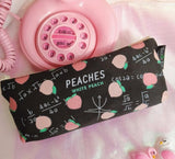 Peaches Cosmetic Make-Up Bag Stationary Pencil Case Zipper Peach Fruit Kawaii Style Clutch Purse