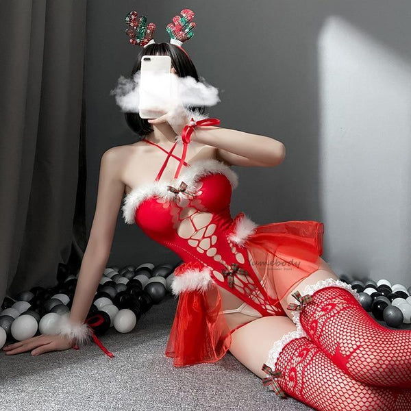 Peekaboo Mrs. Clause Lingerie Set - chrismas, christmas, christmas holiday, holidays