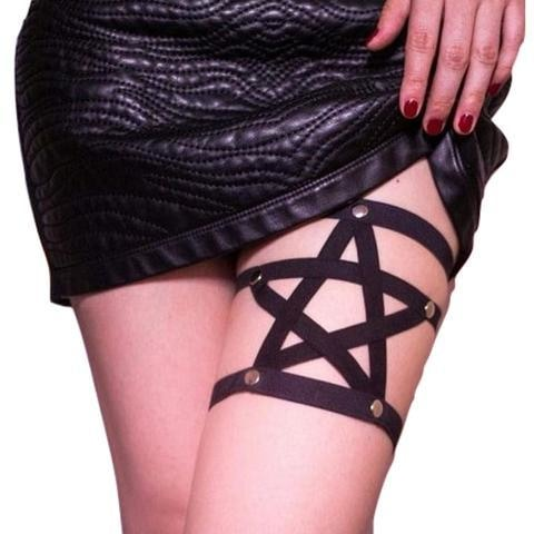 Pagan Pentagram Star Leg Garterbelt Harness Goth