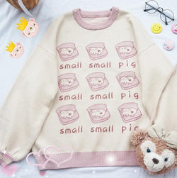 Little Piggy Crewneck - embroidered, embroidery, knit, knit sweater, knitwear