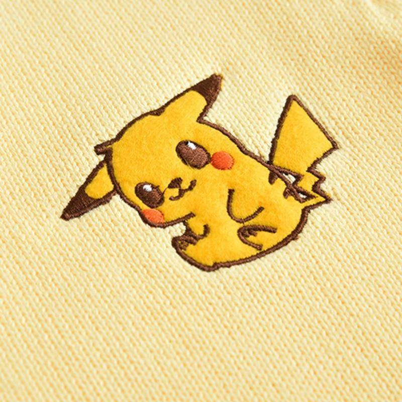 Yellow Pikachu Pokemon Knit Cardigan Sweater Sweatshirt Long Sleeve Knit Kawaii Fashion
