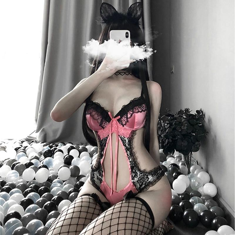 Pink & Black Bunny Lingerie Set - with Stockings - black lace, bodysuit, bra and pantys, bunnies, bunny