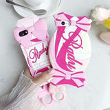 Pink Candy Perfume Bottle iPhone Case 3D Soft TPU Rubber Flexible Shock Proof Apple Phone Protector Cover Princess