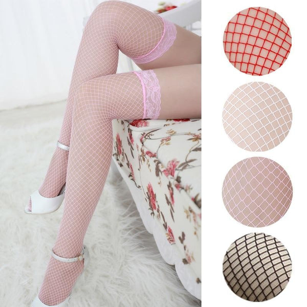 Pink Fishnet Stockings - Pink - tights