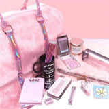 Pink Vegan Fur Gym Bag Duffle Handbag Fuzzy Furry Soft Shag Overnighter Holographic Oversized
