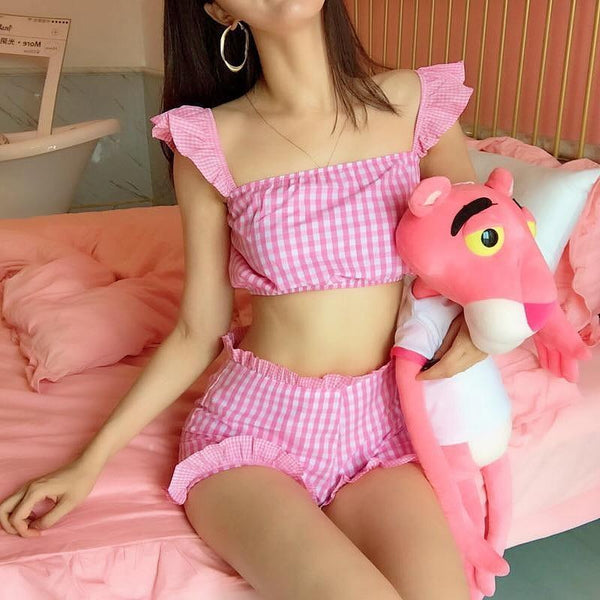 Pink Plaid Babygirl Outfit Crop Top Shorts ABDL Ageplay Kinky