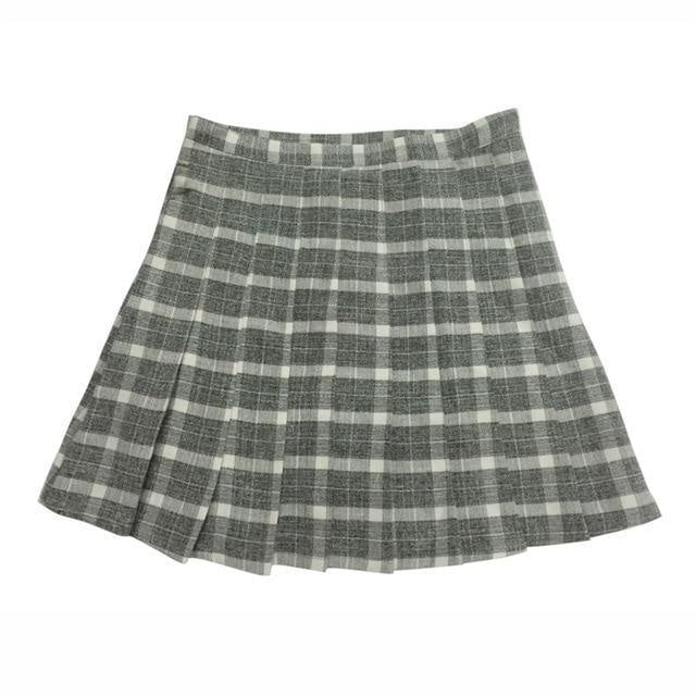 Grey Plaid School Girl Tennis Skirt