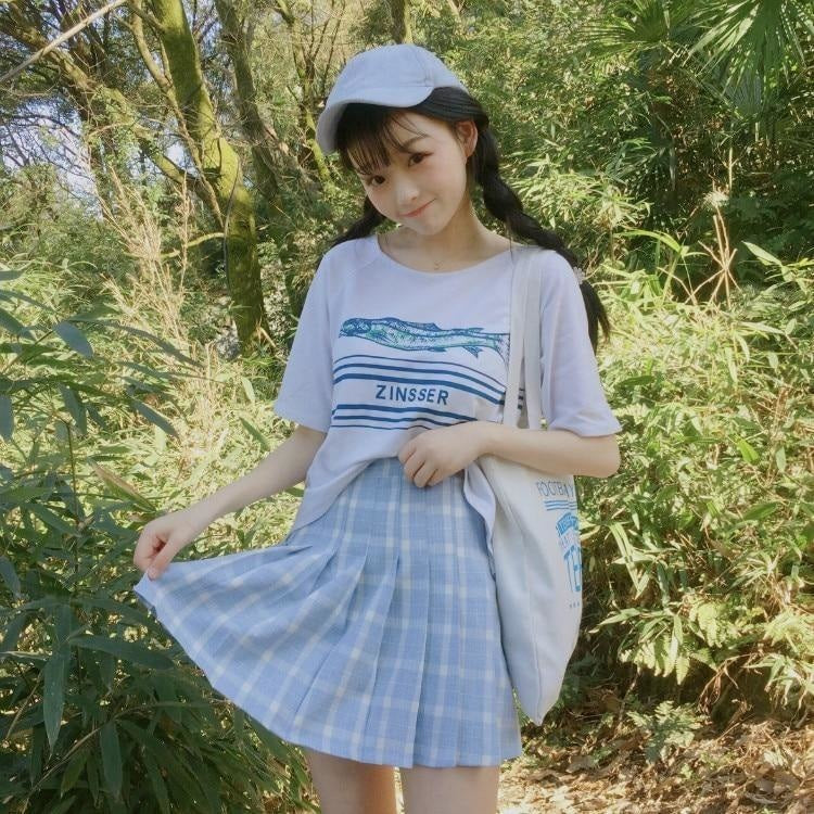 Blue Plaid School Girl Tennis Skirt