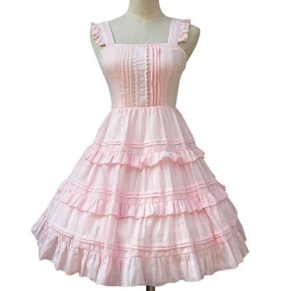 Elegant Girly Sweet Lolita Dress Pink Kawaii Harajuku Princess Fashion