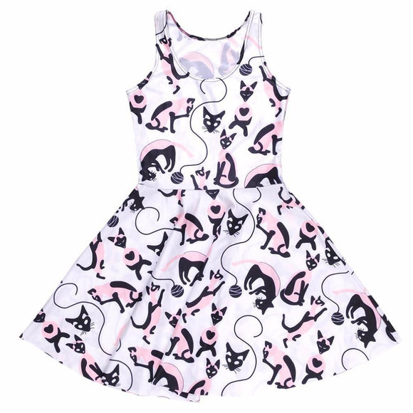 White Black Cat Skater Dress Kawaii Fashion CGL Pet Play ABDL Little Space by DDLG Playground