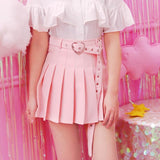 Pink Pleated School Girl Skirt Kawaii Cute Fashion Harajuku Heart Buckle Belt