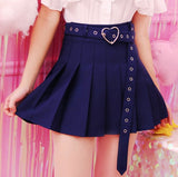 Navy Blue Pleated School Girl Skirt Kawaii Cute Fashion Harajuku Heart Buckle Belt