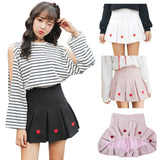 Pink Pleated Heart Tennis Skirt Embroidered Harajuku Kawaii Fashion