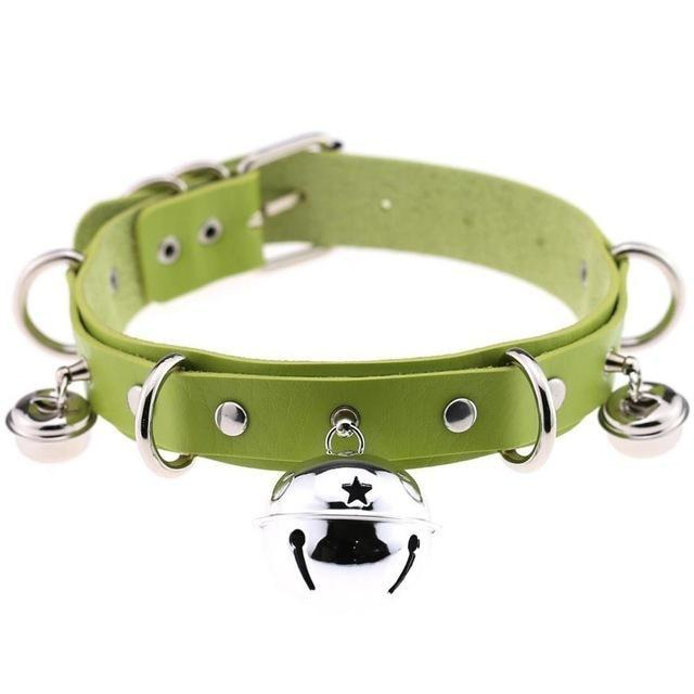 Green Lime Cat Collar Bell Choker Necklace Pet Play Kitten Play Kitty Neko Cosplay Costume Jewelry Vegan Leather