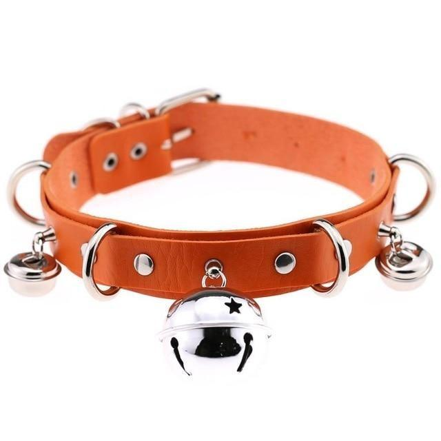Orange Cat Collar Bell Choker Necklace Pet Play Kitten Play Kitty Neko Cosplay Costume Jewelry Vegan Leather