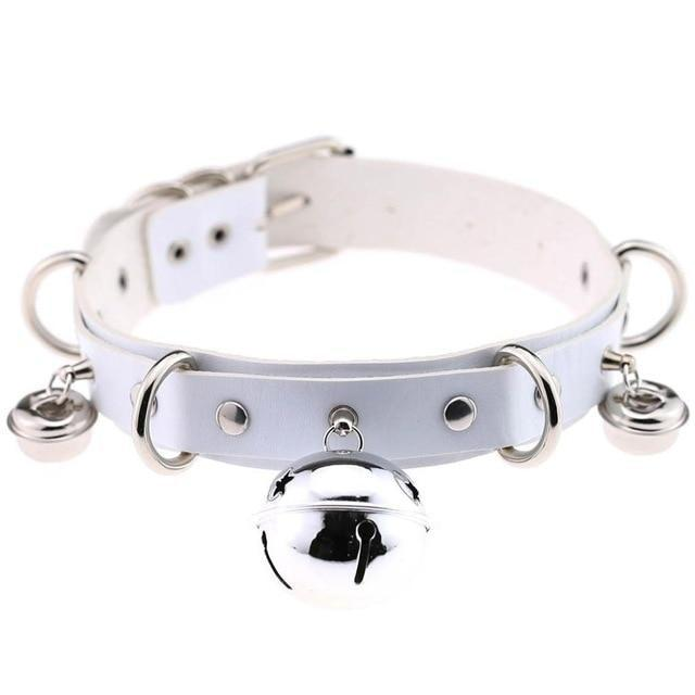 White Cat Collar Bell Choker Necklace Pet Play Kitten Play Kitty Neko Cosplay Costume Jewelry Vegan Leather