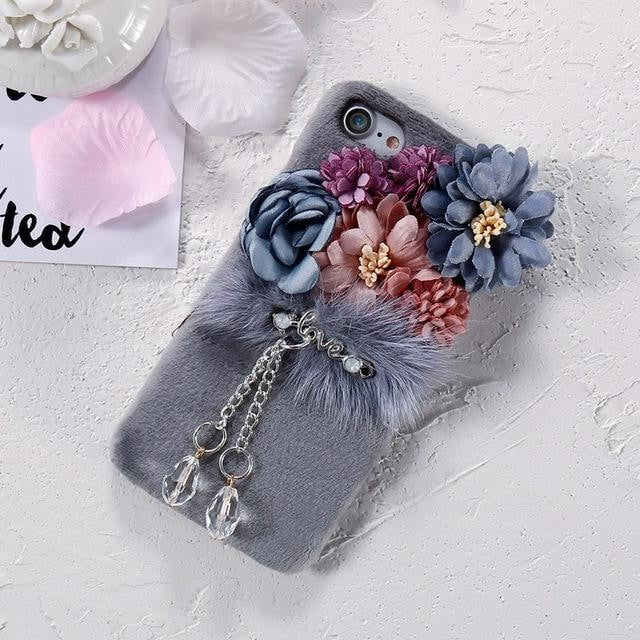 Plush Flower Phone Case - Gray / For Iphone 8 - Phone Case