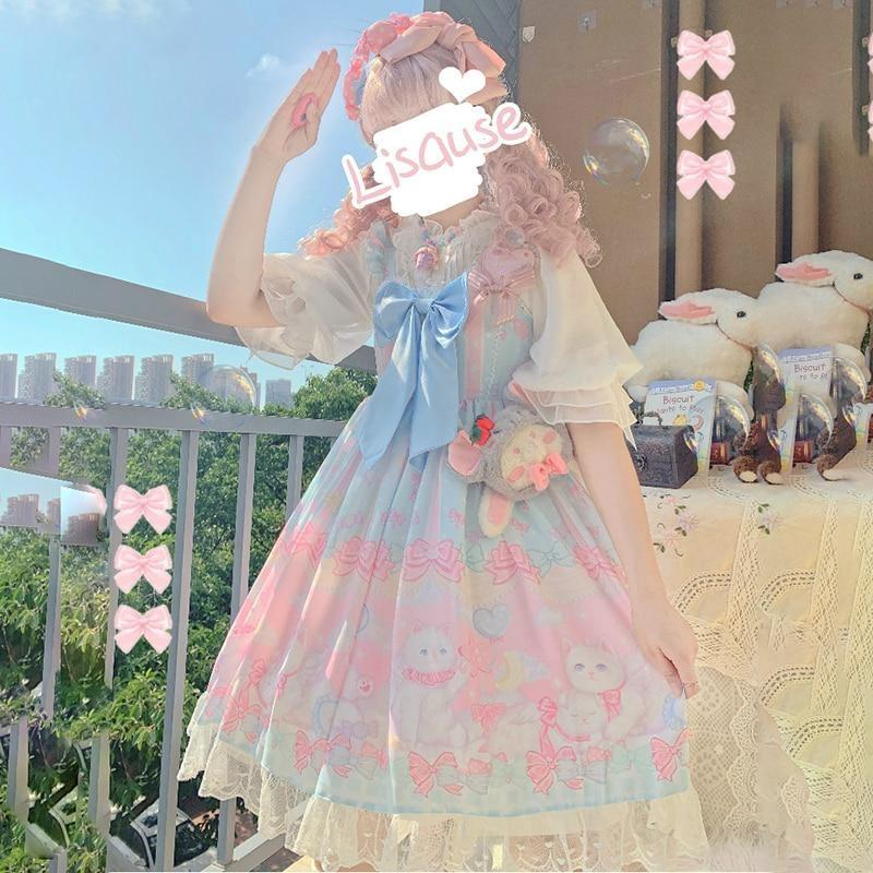 Pocket Kitten Lolita Dress - Blue - cat dress, dresses, chiffon, classic lolita, fairy kei