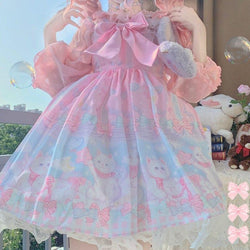 Pocket Kitten Lolita Dress - Pink - cat dress, dresses, chiffon, classic lolita, fairy kei