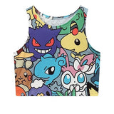 Pokemon Collage Crop Top Tank Top Belly Shirt Kawaii Cute Fashion
