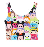 Disney Tsum Tsum Mickey Crop Top Tank Top Belly Shirt Kawaii Cute Fashion