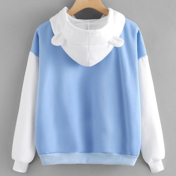 Blue Polar Bear Hooded Sweater Hoodie Sweatshirt Kawaii Little Space